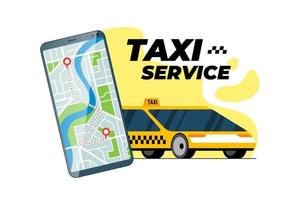 teléfono inteligente con ruta de transferencia de taxi y dirección de llegada del pin de ubicación gps de geoetiqueta en el mapa de la ciudad. concepto de aplicación móvil de servicio de pedido de taxi en línea. Obtenga la ilustración de vector de aplicación de posicionamiento de taxi amarillo