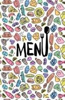 Cafe restaurant menu cover design template. Title page with hand drawn food doodle outline colored sketch pattern. Vector cooking illustration