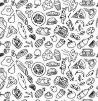 Various hand drawn food cookery doodle outline sketch seamless pattern on white background. Vector cooking illustration for restaurant or cafe