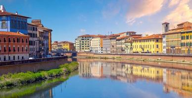Pisa city downtown skyline cityscape in Italy