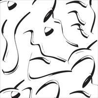 patrón de vector de trazos de pincel de pintura negra. dibujado a mano líneas curvas y onduladas con círculos grunge. pincel garabatos textura decorativa. garabatos desordenados, ilustración de líneas curvas audaces.
