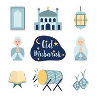 Cute Icon Set Eid Mubarak vector