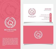 Business Card with Logo Q Vector