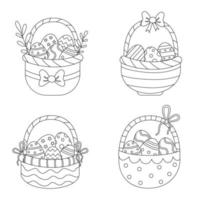 Color Easter baskets. Coloring page for kids. vector