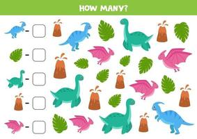 Counting game with cute cartoon dinosaurs. Math worksheet. vector