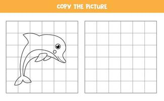 Copy the picture of cute kawaii dolphin. Educational game for kids. Handwriting practice. vector
