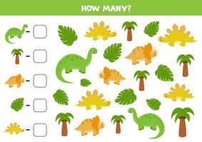 cuente todos los dinosaurios y escriba la respuesta correcta en el cuadro. juego de matemáticas para niños. vector