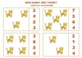 contando el juego de matemáticas con lindos leopardos de dibujos animados. vector