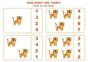 contando juego de matemáticas con tigres de dibujos animados lindo. vector
