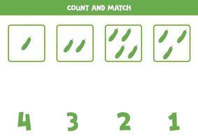 contando juego de matemáticas con pepinos de dibujos animados lindo. vector