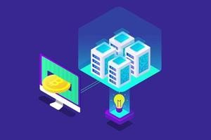 bitcoin isometric illustration with blue color vector