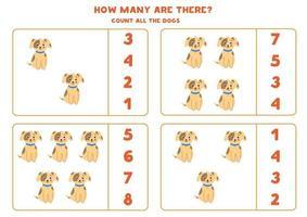 contando juego de matemáticas con perros lindos. vector
