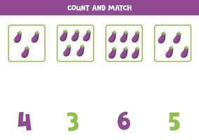 contando juego de matemáticas con berenjenas de dibujos animados lindo. vector