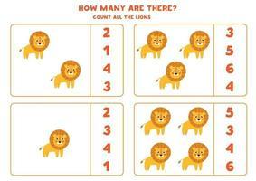 contando juego de matemáticas con leones de dibujos animados lindo. vector