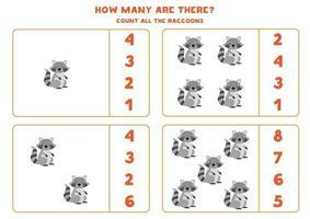 contando juego de matemáticas con mapaches de dibujos animados lindo. vector