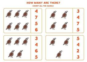 Counting game for kids. Math game with cartoon quails. vector