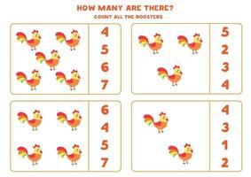 Counting game for kids. Math game with cartoon roosters. vector