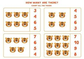 Counting game for kids. Math game with cartoon tiger. vector