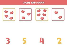 Counting game for kids. Math game with cartoon lips. vector