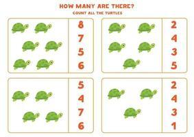 contando juego de matemáticas con tortugas de dibujos animados lindo. vector