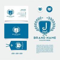 tarjeta de visita con logo j vector