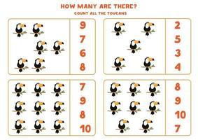 contando juego de matemáticas con tucanes de dibujos animados lindo. vector