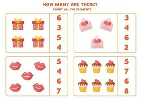 Count all Valentine hearts. Math worksheet for children. vector