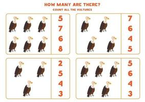 Counting math game with cute cartoon vultures. vector