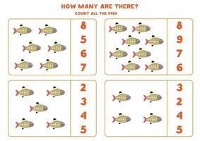 Contando juego de matemáticas con peces de rayos x de dibujos animados lindo. vector