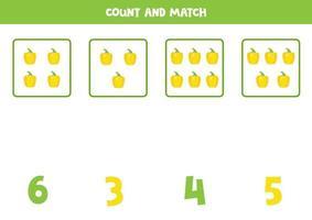 contando juego de matemáticas con pimientos amarillos de dibujos animados lindo. vector