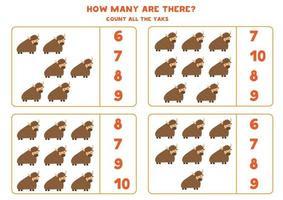 contando juego de matemáticas con yaks de dibujos animados lindo. vector
