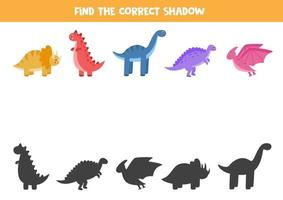Find the correct shadows of dinosaurs. Logical puzzle for kids. vector