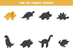 Find the right shadow of cute cartoon trice raptor. vector