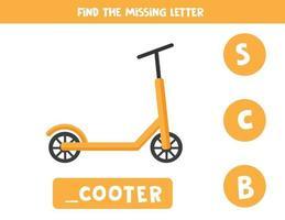 encontrar la letra que falta. scooter de dibujos animados. juego educativo. vector