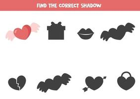 Find the correct shadow of valentine heart. Logical worksheet. vector