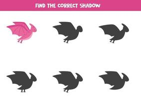 Find the correct shadow of cute flying dinosaur. vector