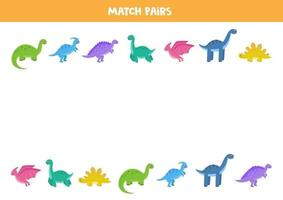 Find pair to each dinosaur. Educational logical game for children. vector