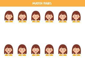 Matching pairs of cute girls. Educational worksheet. vector