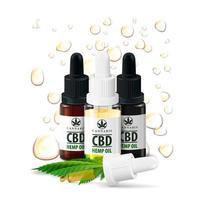 botellas de aceite de cbd aisladas sobre fondo blanco. Botellas de vidrio de aceite de cbd medicinal con hojas de cáñamo y gotas de aceite de cbd en segundo plano. vector