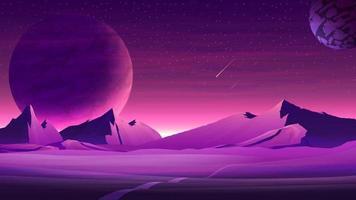 paisaje espacial púrpura de Marte con grandes planetas en el cielo estrellado púrpura, meteoritos y montañas. naturaleza en otro planeta con un enorme planeta en el horizonte vector