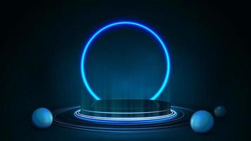 Empty dark podium with realistic spheres and neon ring on background. 3d render illustration with dark and blue abstract scene with neon blue ring vector