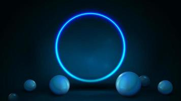 Empty dark and blue abstract scene with spheres on floor and neon blue shiny ring. 3d render illustration with blue abstract scene with neon ring vector