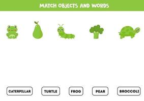 Matching game with colorful green objects. Logical game. vector