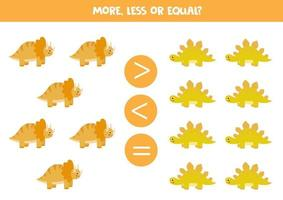 More, less, equal with cute dinosaurs. Math game. vector