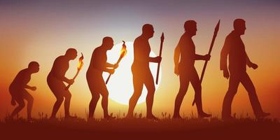 Theory of human evolution vector