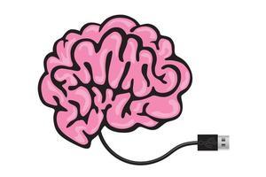una memoria USB conectada a un cerebro. vector