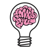 A Brain in a Light Bulb Symbolises an Idea vector