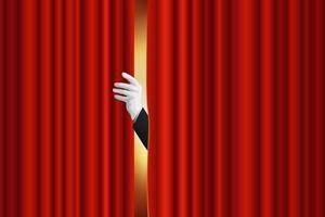 Opening of the curtain of a performance stage vector