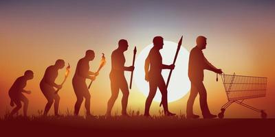 Human Evolution towards the Consumer Society vector