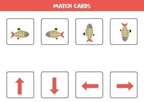 Orientación espacial para niños. izquierda o derecha, arriba o abajo con lindos peces de rayos X. vector